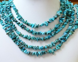 300 Cts  Five strand AfricanTurquoise 40 cm length GOGO 1257