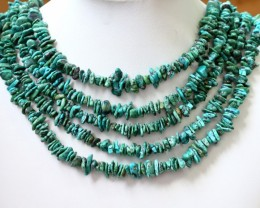 350 Cts  Five strand AfricanTurquoise 40 cm length GOGO 1260