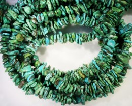 350 Cts  Three strand AfricanTurquoise 40 cm length GOGO 1260