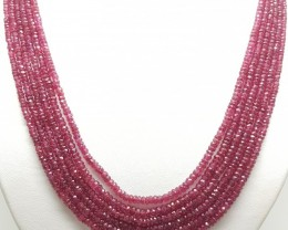 Natural Faceted Red Ruby Round Gemstone Beads Necklace 6 Rows 4x4mm 17-