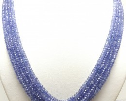 350 CTS NATURAL BLUE TANZANITE FACETED ROUND BEADS NECKLACE 4 STRANDS
