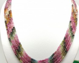 284 Crt Natural Ruby,Emerald,Sapphire Faceted Round Beads 5 Strand Necklace