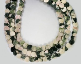 220 cts Three Brazil jasper pink / grey strand beads GOGO 1279
