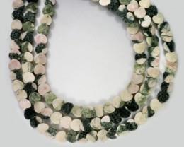 220 cts Three Brazil jasper pink / grey strand beads GOGO 1281