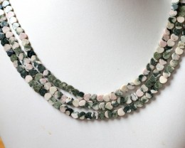 200 cts Three Brazil jasper pink / grey strand beads GOGO 1282