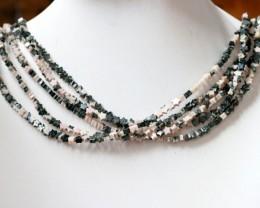 200 cts Five Brazil jasper pink / grey strand beads GOGO 1282