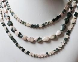 320 cts Three Brazil jasper pink / grey strand beads GOGO 1283