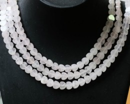 205 CTS Natural rose quartz Bead Three strand GOGO 1286