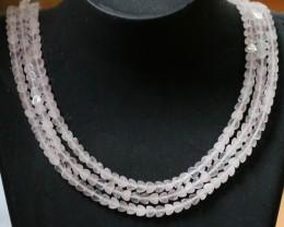 140 CTS Natural rose quartz,Heart shape Bead Three strand GOGO 1288