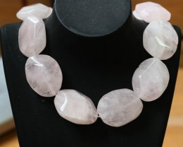 900 CTS Natural rose quartz Bead One strand GOGO 1291