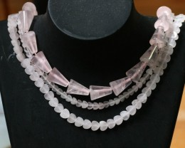320 CTS Natural rose quartz Bead Three strand GOGO 1292