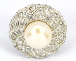 51.14Ct Stamped 925 Silver Ring Sz 9 / Natural Milky White Pearl