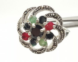 925 Sterling Silver Ruby,Emerald & Sapphire Wedding Fashion Ring 8