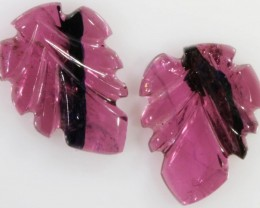 3.85 Cts pair matching tourmaline carvings GOGO 1328