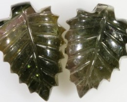 15.90 Cts pair matching tourmaline carvings GOGO 1329