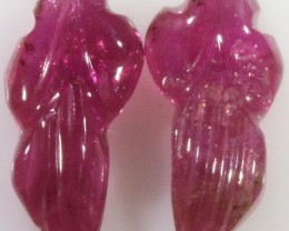 4.45 Cts pair matching tourmaline carvings GOGO 1337