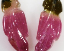 5.10 Cts pair matching tourmaline carvings GOGO 1343
