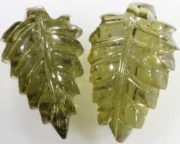 9.10 Cts pair matching tourmaline carvings GOGO 1345