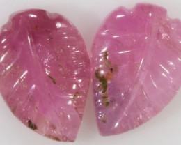 4.15 Cts pair matching tourmaline carvings GOGO 4.15