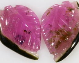 3.85 Cts pair matching tourmaline carvings GOGO 1356