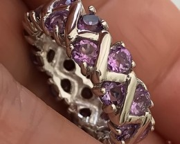 INCREDIBLY BEAUTIFUL PINK PURPLE AMETHYST STERLING SILVER RING SIZE 8