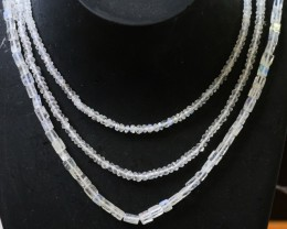 105 Cts three strands Moonstone beads GOGO 1446
