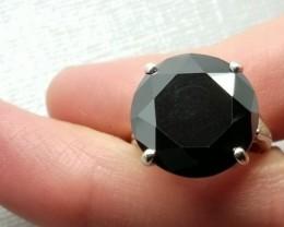 Certified Dazzling 15.83ct Natural Black Diamond Ring Retail $8590
