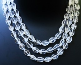 300.05 Cts three Strand Crystal bead strands  GOGO 1468