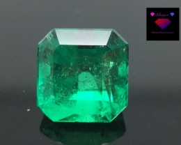 2.07 Awesome Colombian Emerald Top Cut & Luster Vivid color Gemstone