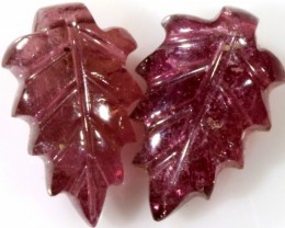 4.85 Cts pair  matching tourmaline carvings GOGO 1516