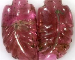 4.80 Cts pair  matching tourmaline carvings GOGO 1527