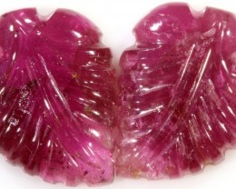 9.55 Cts pair  matching tourmaline carvings GOGO 1531