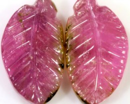 10.55 Cts pair  matching tourmaline carvings GOGO 1532