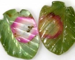 2.75 Cts pair  matching tourmaline carvings GOGO 1534