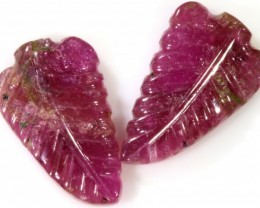 7.55 Cts pair  matching tourmaline carvings GOGO 1536