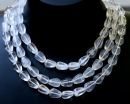605.00 Cts three Strand Crystal bead strands  GOGO 1548