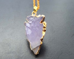 Natural Arrow Shape Amethyst Crystal Necklce