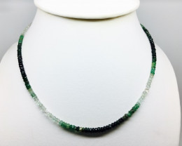 51 crt Natural Emerald Multi-Color Faceted Beads Necklace