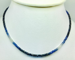 50.5crt  Sapphire Multi-Color faceted Beads Necklace