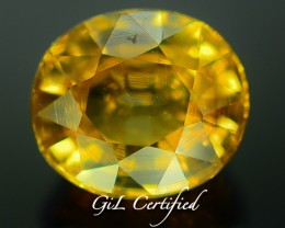 GiL Certified 2.60 ct Canary Zircon Untreated Combodia PR.1