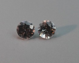WHITE ZIRCON GEMSTONE PAIR ROUND
