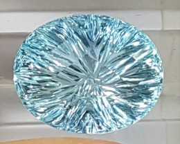 5.14cts Aquamarine, Dazzling Concave Cut,  Lively Baby Blue, Calibrated