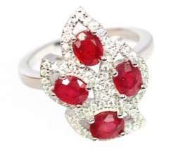 23.10Ct Stamped 925 Silver Ring Sz 6 / Natural Red Ruby