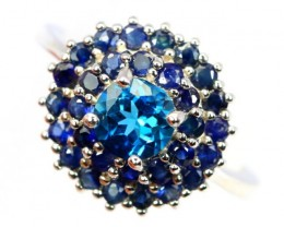 20.00Ct Stamped 925 Silver Ring Sz 7.5 / Natural Topaz / Blue Sapphire