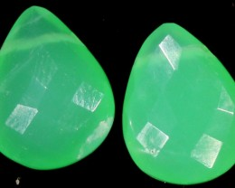 6.60 CTS Faced Pair CHRYSOPRASE [GOGO 1624]