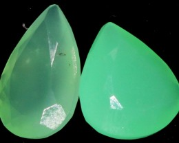 8.55 CTS  two Faceted CHRYSOPRASE [GOGO 1626]