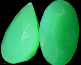 7.80 CTS two  Faceted Pair CHRYSOPRASE [GOGO 1627]