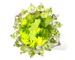 22.24Ct Stamped 925 Silver Ring Sz 6.25 / Green Peridot