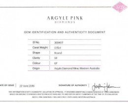 0.15 ct Certified Argyle Pink diamond  P015R6P/A