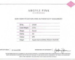 0.17 t Certified Argyle Pink diamond  P017R6PR